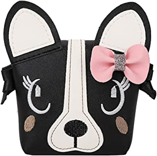 JienClound Little Girl Purses,Cute Puppy Shoulder Crossbody Bag with a Bowknot, Gifts for Little Girls (Black)