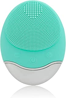 Sonic Facial Cleansing Brush, Soft Silicone Waterproof Face Cleanser Bamboo Charcoal Wireless Charging Travel Size Massager for Skin Exfoliation, Deep Cleansing, Anti Aging - Green