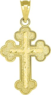 14k Yellow Gold Eastern Orthodox Textured Inlay Cross Pendant