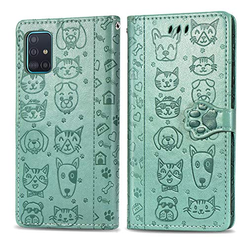 COTDINFORCA Compatible with Samsung Galaxy A71 5G Case Galaxy A71 5G Wallet Case Cute with Card Slots Flip Case for Girls Women Cat Dog Embossing Shockproof Case for Samsung Galaxy A71 5G Green SDM