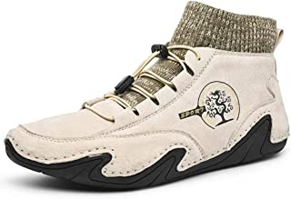 YZCH Men Soft Non Slip Lace Up Driving Leather Shoes Casual Breathable Flexible Ankle Boots