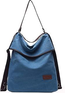 Travistar Damen Canvas Schultertasche Rucksack Groß Handtasche Vintage Damen Umhängentasche Anti Diebstahl Tasche Damen Hobo Tasche für Alltag Büro Schule Ausflug Einkauf Blau