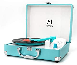 Record Player, MPK Portable Mini Suitcase Turntable for 7 Inch Vinyl Record, Belt-Drive 2-Speed Turntable with Built in St...