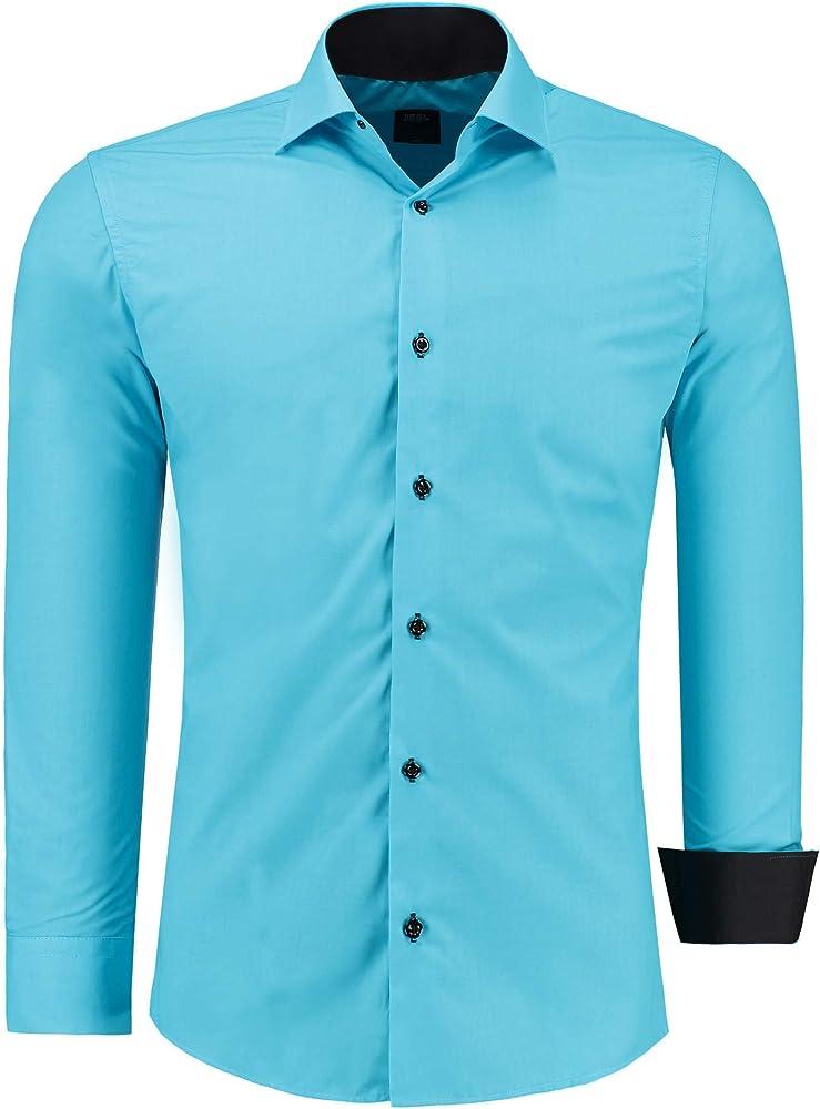 Jeel camicia da uomo - slim fit, a maniche lunghe , 70% cotone, 30% poliestere 12105F