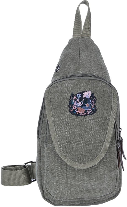 Ewfweef Sad Music Canvas Sling Bag Travel Chest Backpack Daypack for Women Men