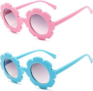 besbomig - 2 Pcs Gafas de Sol para Niños y Niñas de 3 a 10 Años de Edad - Gafas Infantiles con Protección UV, con Funda