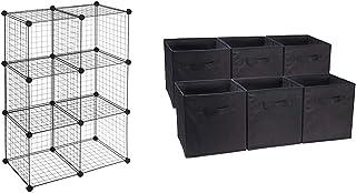 Amazonベーシック 収納棚 6キューブワイヤー ブラック & 収納ボックス 収納キューブケース 折りたたみ式 6点セット ブラック【セット買い】