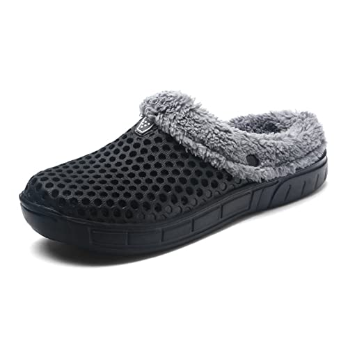 2bc6c12d0dd9 HangFan Men s Women Mules Clogs Slip On Garden Shoes Fur Lined Slides Flip  Flops Warm Winter