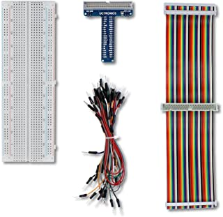 UCTRONICS GPIO Breakout Kit for Raspberry Pi - Assembled Pi T- Type Breakout + 830 Tie Points Solderless Breadboard + 40 P...