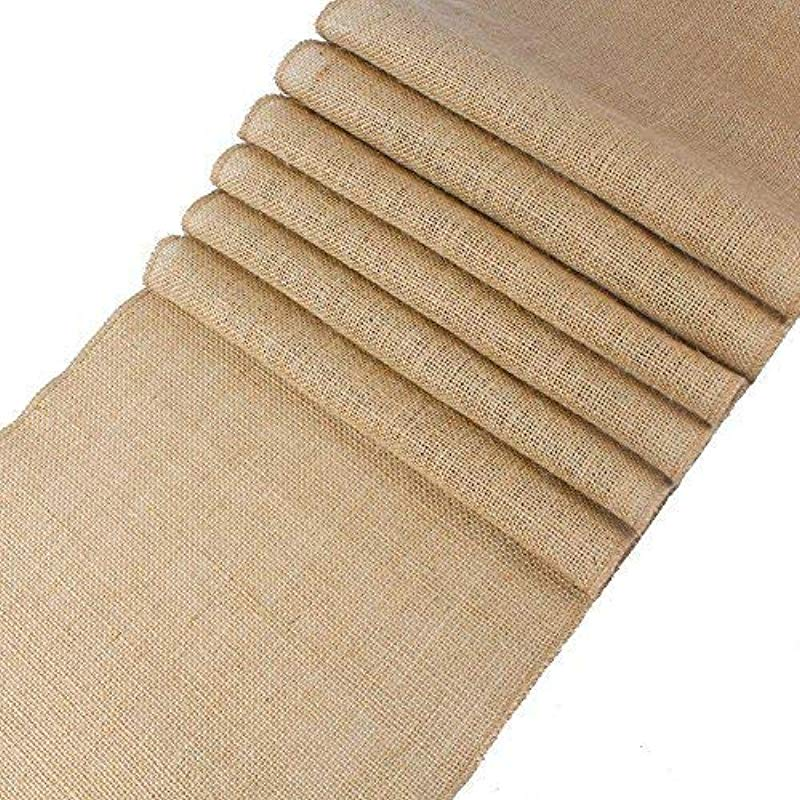 Mds Pack Of 10 Wedding 12 X 108 Inch Burlap Table Runner Natural Jute Country Vintage For Wedding Banquet Decoration Natural Jute Burlap