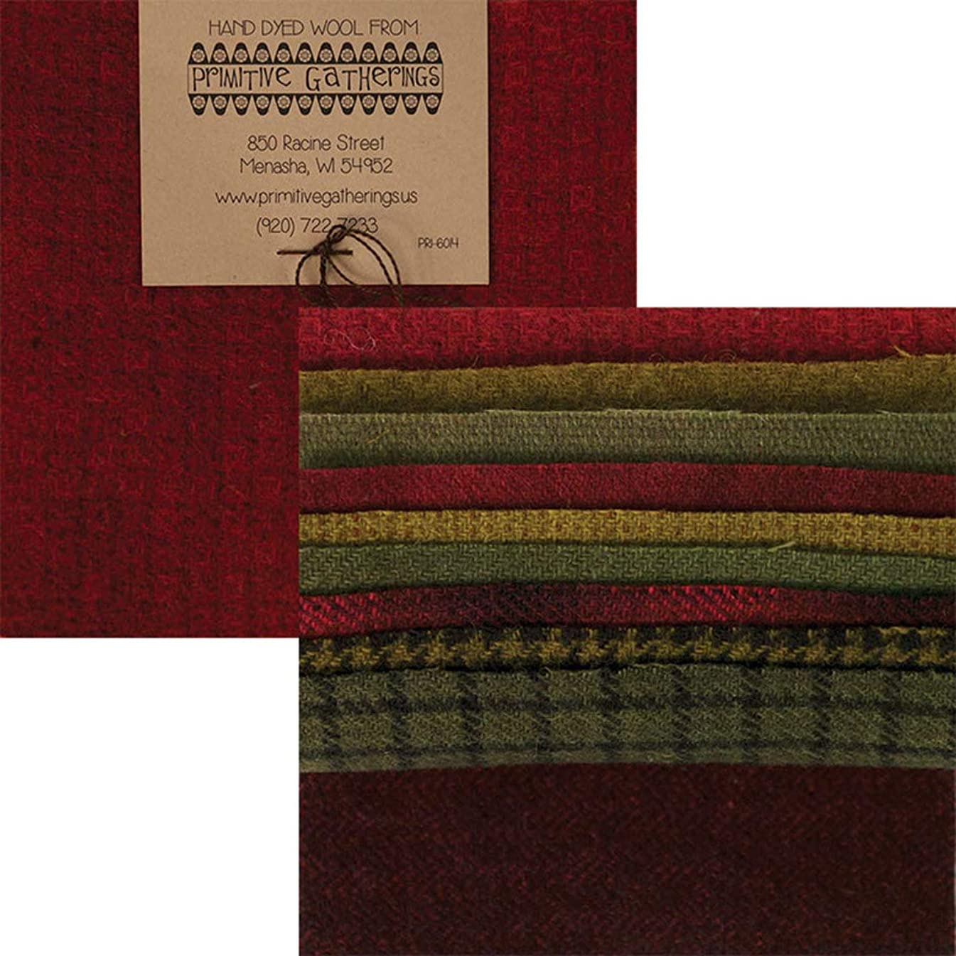 Primitive Gatherings Hand Dyed Wool Holiday Charm Pack 10 5-inch Squares Moda Fabrics PRI 6014