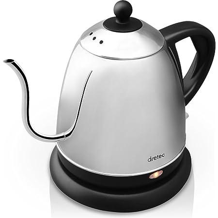 dretec(ドリテック) 電気ケトル ステンレス コーヒー ドリップ ポット 細口 湯沸かし 0.8L (ブラック)