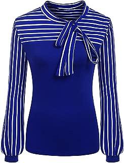 Makulas Womens Blouse Tie-Bow Neck Pullover Striped Long Sleeve Splicing Business Attire Shirt Tops Fashion Sweatshirt Tunics
