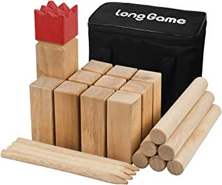 Hardwood Outdoor Kubb Yard Game for Kids and Adults Knot-Free Wooden Family Backyard Giant Lawn Games Set with Carrying Bag