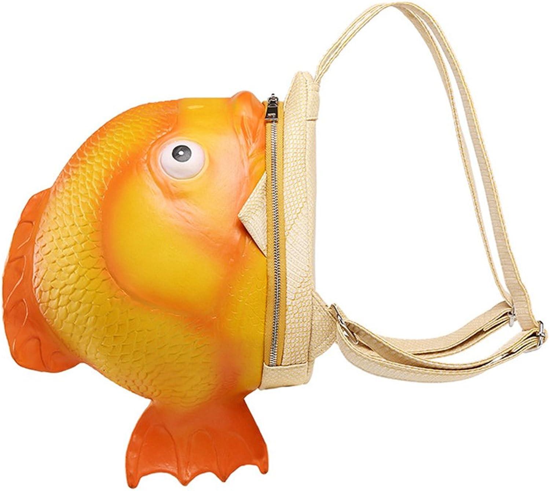 Backpack for Women Girls PU Leather Carton Cute Fun Fish Bag Mini Fashion Animal Shopping Bag orange 30  30  16Cm