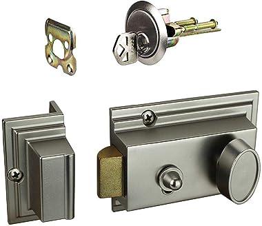 Defiant Satin Nickel Deadbolt Lock with Night Latch, Holdback Button Single Cylinder Rim and Two Keys - Heavy Duty Defender S