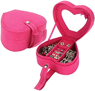 Xiang Ru Portable Velvet Heart Shape Travel Jewellery Organiser Bag Jewelry Box with Mirror