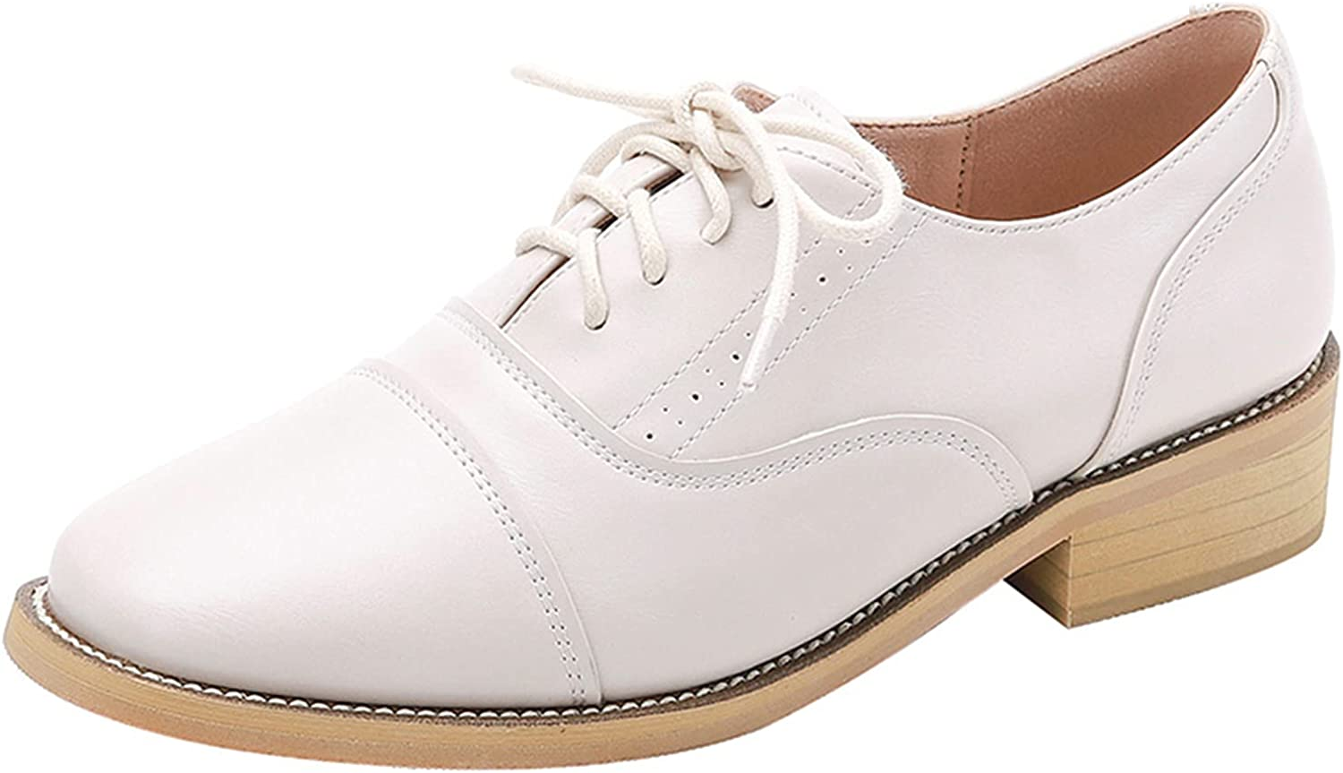 Women's Fashion Leather Shoes Low-top Vintage Dealing full price reduction British shop Lace