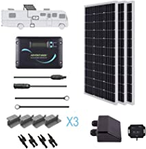 Renogy 300 Watts 12 Volts Monocrystalline Solar RV Kit Off-Grid Kit with 30A PWM LCD Charge Controller / Mounting Brackets / MC4 Connectors/ Solar Cables /Cable Entry housing