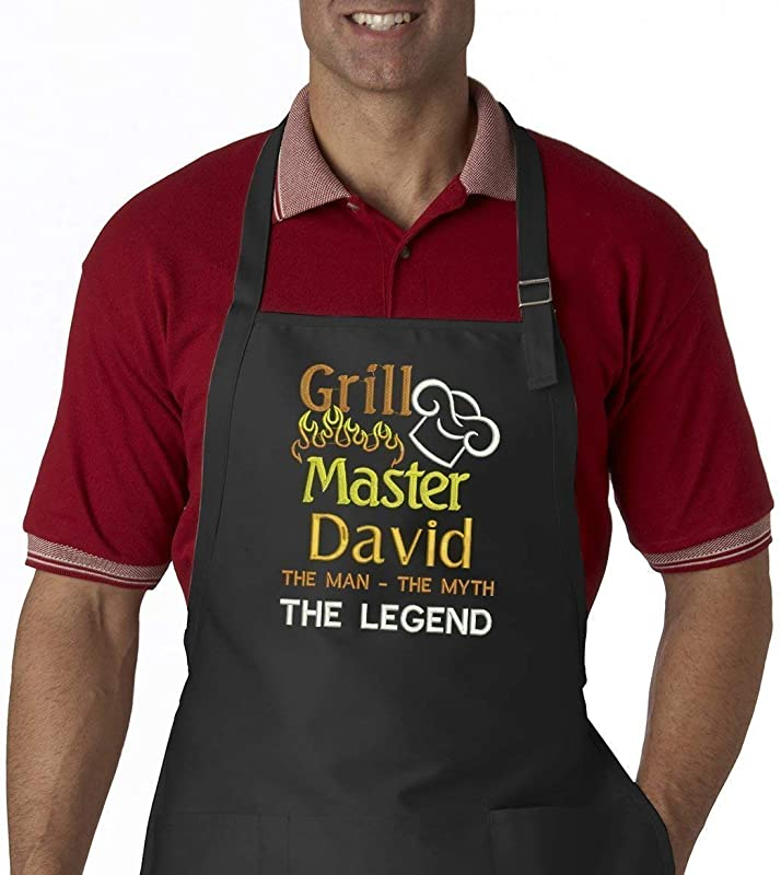 Grill Master The Man The Myth The Legend Personalized Men S Embroidered BBQ Apron