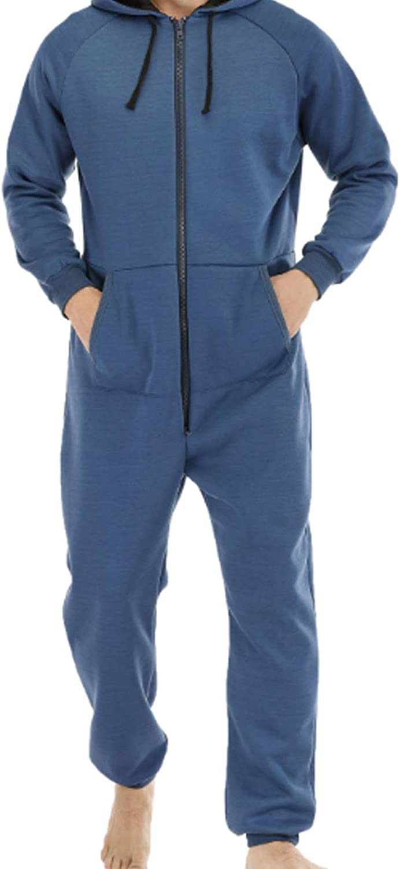 Men's Long Pajamas Set for Men 2pc Sleepwear Royal blue L
