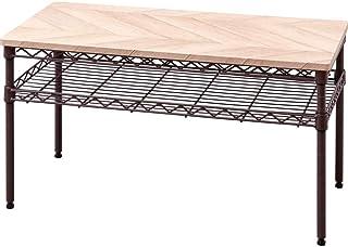 アイリスオーヤマ テーブル 収納付き ノートパソコンも置ける 木目調 おしゃれ テレワーク推奨 カラーメタルラック 幅76×奥行36㎝ CMM-T76362 ブラウン