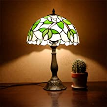 Tiffany Style Table Lamp, 12 Inch Rustic Style Flower Stained Glass Shade Desk Lamp, Zinc Alloy Base Decor Desk Lamp for Living Room Bedroom,Rose