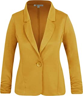 Michel Women's Basic Collar Blazer 3/4 Crunched Sleeve Button Closure Jacket with Plus Size