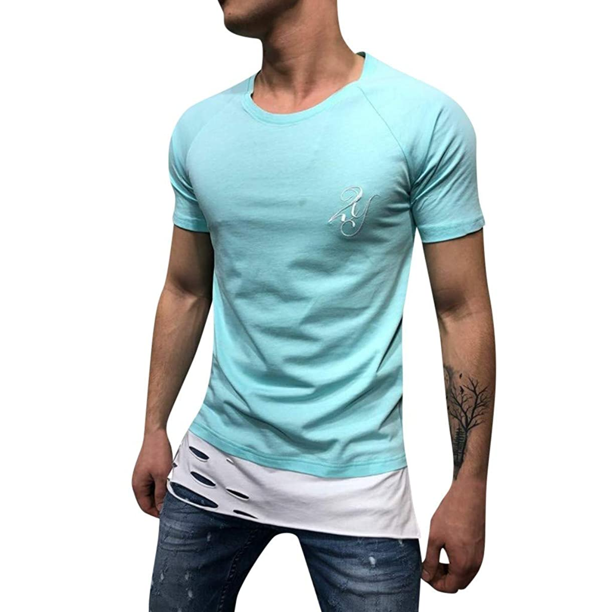Men's Shirts Summer Letter Print Slim Fit Round-Neck Short Sleeve Hollow Tee Tops Blouse xkngr4581