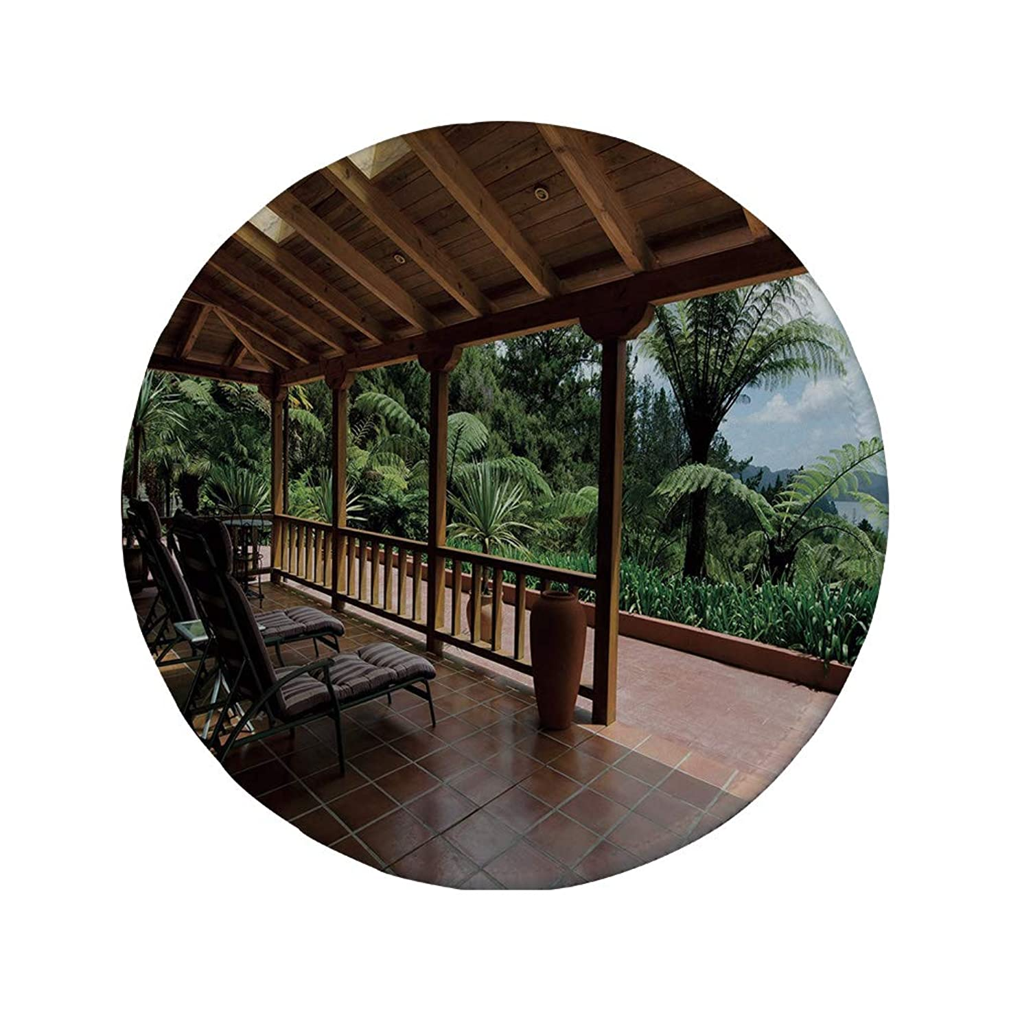 Non-Slip Rubber Round Mouse Pad,Patio Decor,Sub Tropical Wooden Terrace Near Bushes and Grass Villa Yard Lifestyle,Light Coffee Green,11.8