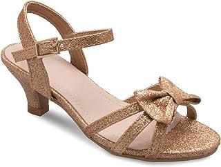 Olivia K Girl's Glitter Leatherette Open Toe Strappy Ankle Strap Kitten Heel Sandal (Toddler/Little Girl)