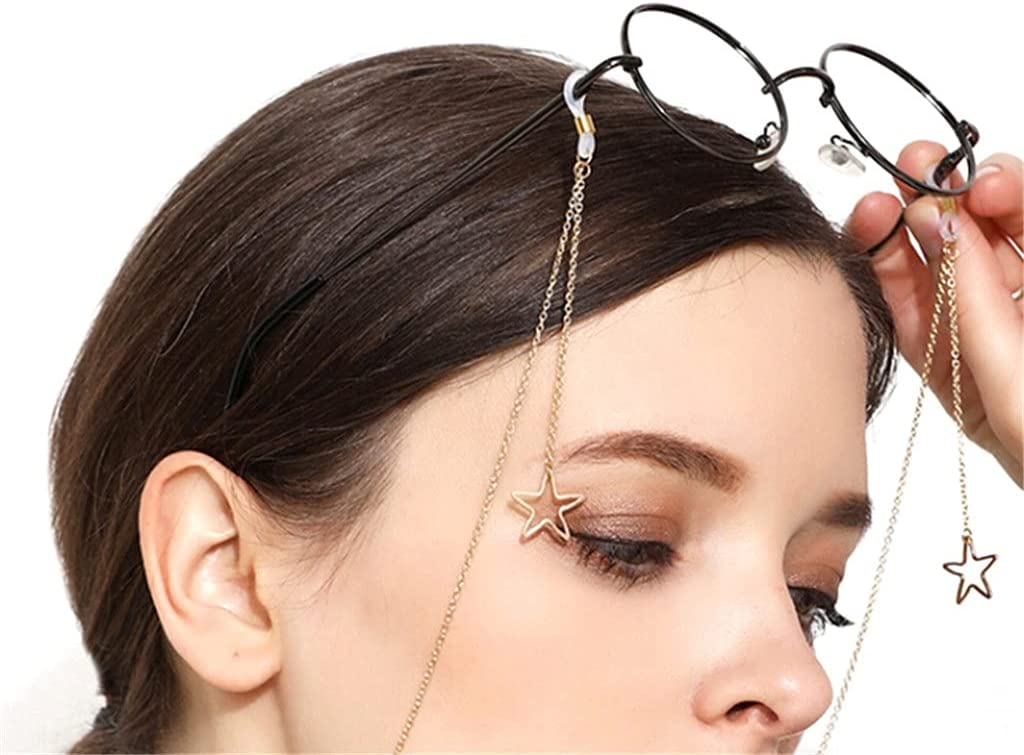 ZYKBB Hollow Star Sunglasses Reading Glasses Chain Eyewear Card Holder Neck Strap Rope Fashion Womens Pendant Eyeglass Chains (Color : B)