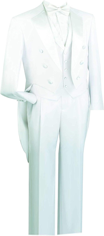 VINCI Men's Classic Fit Tuxedo with Tails & White Vest T-2X
