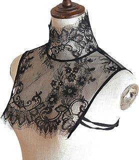 BMBN Faux kraag, dames elegante faux kraag half shirt rolkraag wimper bloemen kant mouwloze crop top sexy pure decoratieve...