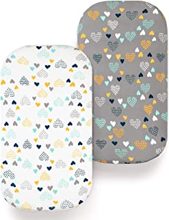 COSMOPLUS Bassinet Sheet Set -2 Pack Stretch Fitted Craddle Fitted Sheets for Bassinet Pads/Mattress, for Boys Girls,Unisex,Ultra Soft,Heart Pattern
