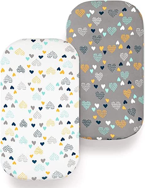 COSMOPLUS Bassinet Sheet Set 2 Pack Stretch Fitted Craddle Fitted Sheets For Bassinet Pads Mattress For Boys Girls Unisex Ultra Soft Heart Pattern