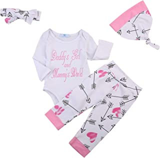 Newborn Baby Girls Clothes Outfit Set Long Sleeve Body Suit Jumpsuit Pants Infant Toddler Headband Baby Hat 4 PCS