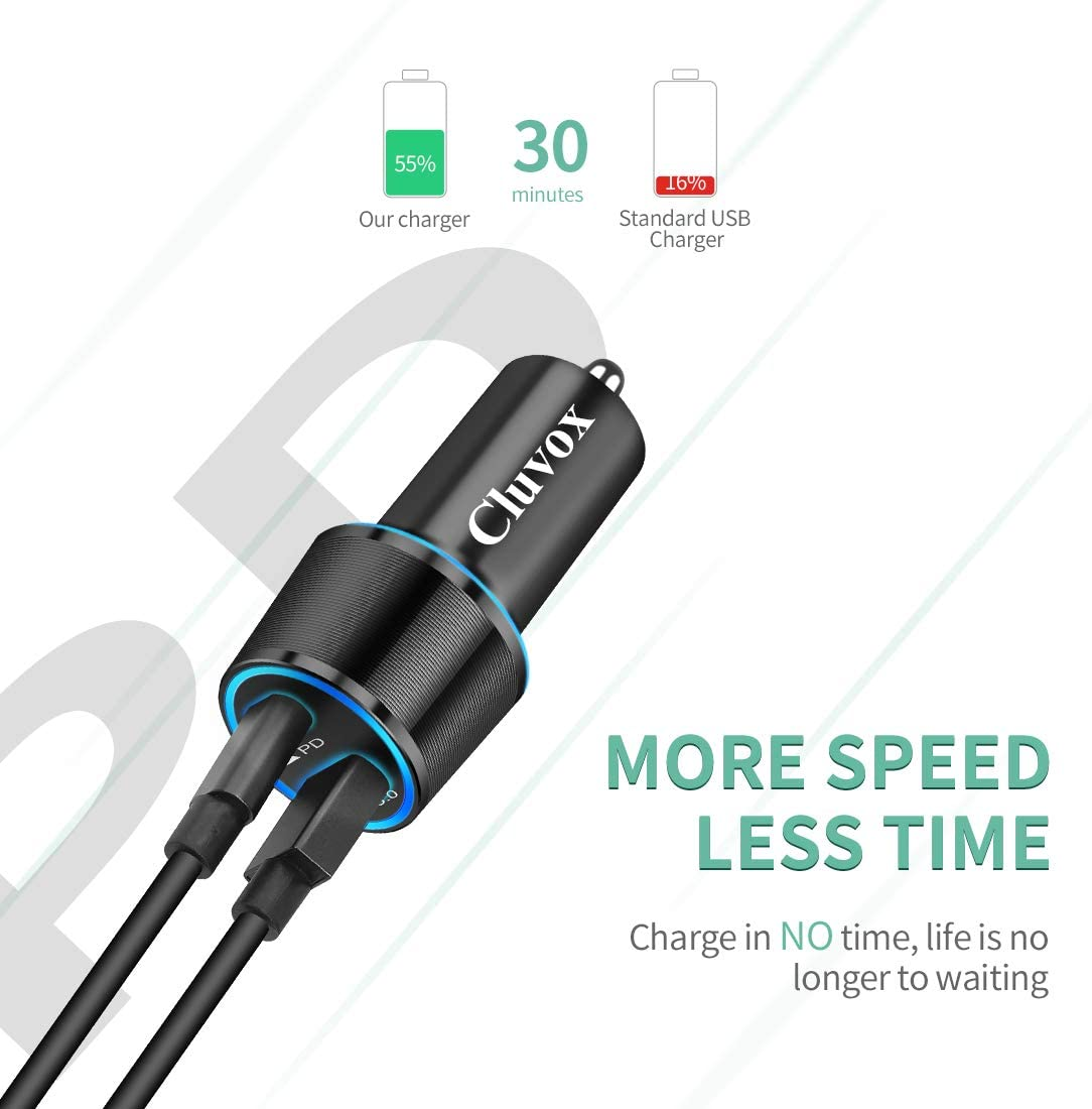 Samsung Galaxy S20 Plus//Ultra//Note 10//S10E//S10 Plus 18W Dual USB Fast Charging Car Adapter with 2-Pack Type C Cords Cluvox Rapid Type C Car Charger Compatible Google Pixel 4 XL//3a XL//3a//3 XL//3//2 XL