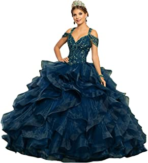 Crystal Beaded Off The Shoulder Tulle Ruffles Sweet 16 Quinceanera Dresses Pageant Ball
