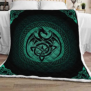 Personalized Turquoise Celtic Dragon Quilt Sets King Queen Twin Throw Size - Birthday Bedding Cover Patchwork Wall Hanging Xm