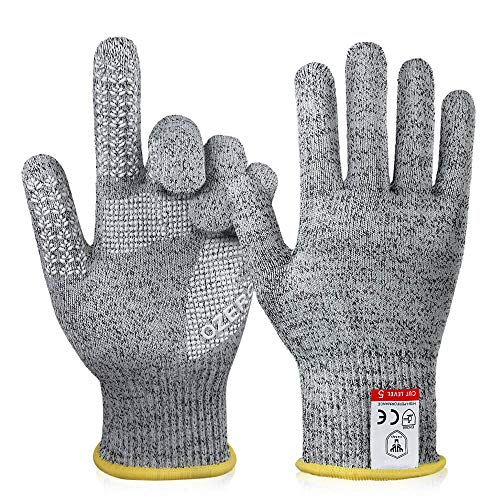 OZERO Cut Resistant Gloves (1 Pair) Food Grade Level 5 Protection, Durable Grip,Elastic Comfort Fit, Safety for Cutting,Kitchen Cooking, Fishing and Gardening(Medium)