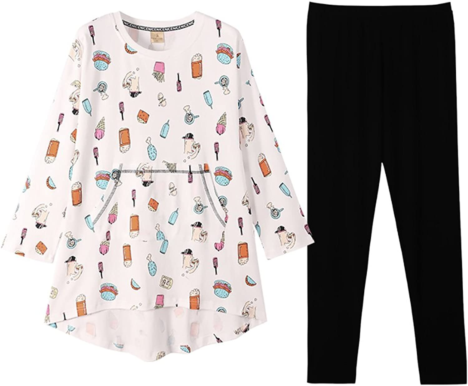 Pajamas cotton cute cartoon long sleeve trousers home clothing set ( color   White , Size   XL )