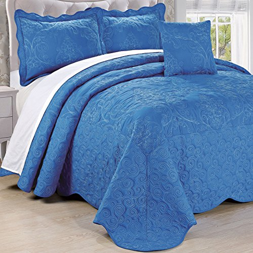 Home Soft Things Serenta Damask 4 Piece Bedspread Set, King, Palace Blue