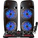 Professional DJ System - Mixtrack Pro FX DJ Controller - Serato DJ Lite Software - Lighted Powered Dual 15' DJ Speakers - 4000 Watts
