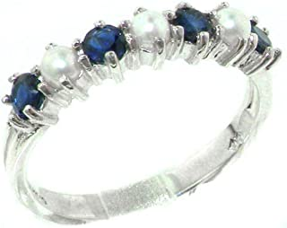 925 Sterling Silver Cultured Pearl & Sapphire Womans Eternity Ring