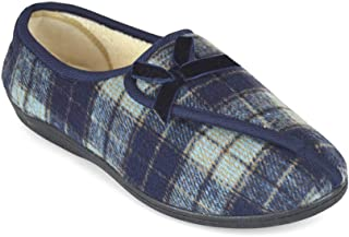 Ladies Brushed Velour Checked Easy Opening Slipper Shoes