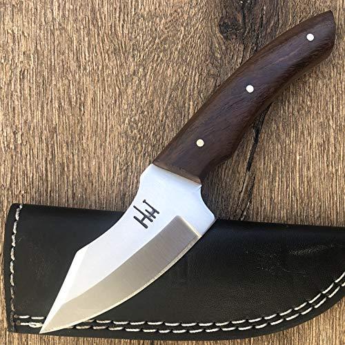 Hobby Hut HH-904 | 420C Edelstahl 19.05 cm Jagdmesser mit Scheide | Griff aus Walnussholz | Fixed Blade Messer | Entwickelt für Skinning, Camping