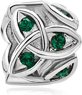 Heart Best Friend Irish Claddagh Celtic Trinity Knot Charm Green Crystal Charms for Bracelet