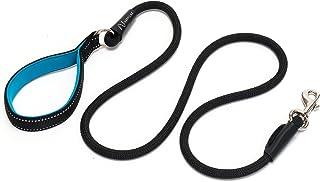 Happilax Correa perro de cuerda redonda con asa acolchada, resistente, reflectante y negra, 1,50 m