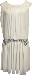White Sheer Gauzy Embroidered Beaded Dress Size S P